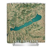 Lake Balaton 3d Render Satellite View Topographic Map Shower Curtain