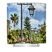Lampost With Flowers In Nafplio Town Shower Curtain