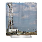 Land Oil Drilling Rig On Oilfield Shower Curtain