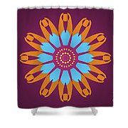 Landscape Purple Back And Abstract Orange And Blue Star Shower Curtain