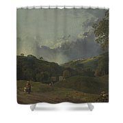 Landscape With Cottagers Shower Curtain