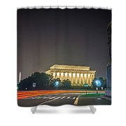 Lincoln Memorial Monument With Car Trails At Night Shower Curtain