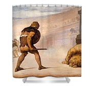 Lion In The Arena Shower Curtain