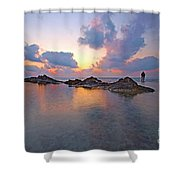 Lone Fisherman At Low Tide  Shower Curtain