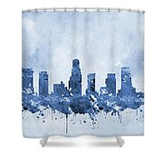 Los Angeles Skyline-blue Shower Curtain
