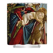 Madonna And Child And The Young St John The Baptist Shower Curtain