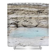 Mammoth Hot Springs Upper Terraces In Yellowstone National Park Shower Curtain