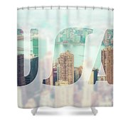 Manhattan Skyline At Sunset, New York City  Shower Curtain
