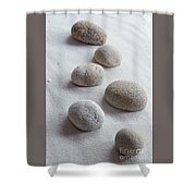 Meditation Stones On White Sand Shower Curtain