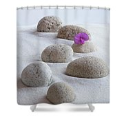 Meditation Stones Pink Flowers On White Sand Shower Curtain