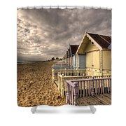 Mersea Island Beach Huts Shower Curtain