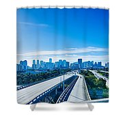 Miami Florida City Skyline And Streets Shower Curtain