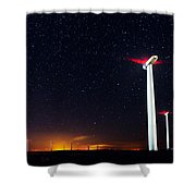 Milky Way Over The Wind Turbine Shower Curtain