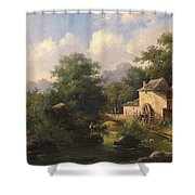Mill With Angler Shower Curtain