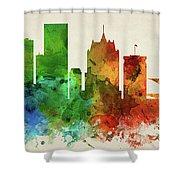 Milwaukee Skyline Panorama Uswiml-pa03 Shower Curtain