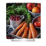Mix Of Fruits, Vegetables And Berries Shower Curtain