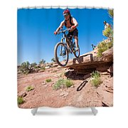 Mountain Biking The Porcupine Rim Trail Near Moab Shower Curtain