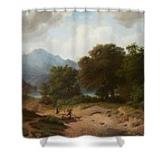 Mountainous Landscape With Shepherds Shower Curtain