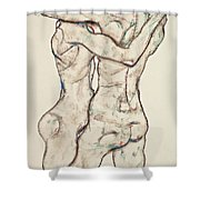 Naked Girls Embracing Shower Curtain