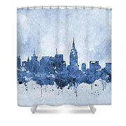 New York Skyline-blue Shower Curtain