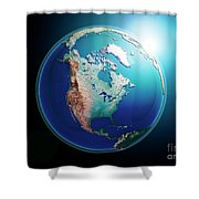 North America 3d Render Planet Earth Dark Space Shower Curtain