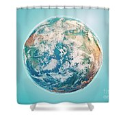 North Pole 3d Render Planet Earth Clouds Shower Curtain