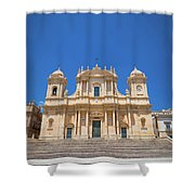 Noto, Sicily, Italy - San Nicolo Cathedral, Unesco Heritage Site Shower Curtain