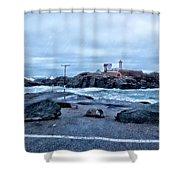 Nubble Light Lighthouse Shower Curtain