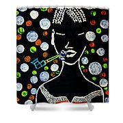 Nuer Lady With Pipe - South Sudan Shower Curtain