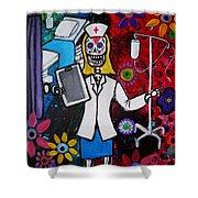 Nurse Dia De Los Muertos Shower Curtain