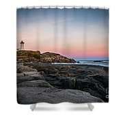 Ocean Lighthouse At Sunset Shower Curtain