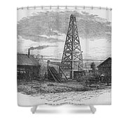 Oil Well, 19th Century Shower Curtain