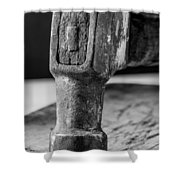Old Claw Hammer With Wooden Handle Bw Shower Curtain