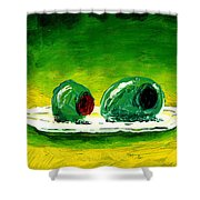 2 Olives On A White Plate Shower Curtain