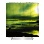 On Golden Waters  Shower Curtain