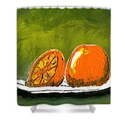 2 Oranges On A White Plate Shower Curtain