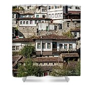 Ottoman Architecture View In Historic Berat Old Town Albania Shower Curtain