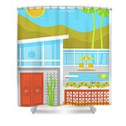 Palm Springs Poster - Retro Travel  Shower Curtain by Jim Zahniser