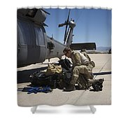Pararescuemen Sorts Out His Gear Shower Curtain