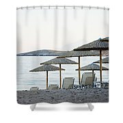 Parasol And Sunbeds At Sunset Shower Curtain