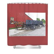Amish Parking Lot Shower Curtain