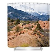 Pikes Peak From Red Rocks Canyon Shower Curtain