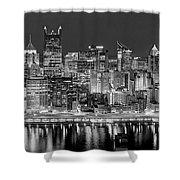 Pittsburgh Pennsylvania Skyline At Night Panorama Shower Curtain