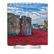 Poppies At The Tower Of London Shower Curtain