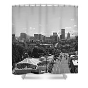 Portland Skyline Black And White Shower Curtain