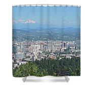 Portland Skyline With Mount Hood Shower Curtain