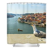 Porto Skyline Seagull Shower Curtain