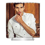 Portrait Of Young Businessman.  Shower Curtain
