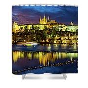 Prague Skyline At Sunset Shower Curtain