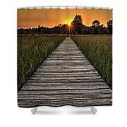 Prairie Boardwalk Sunset Shower Curtain